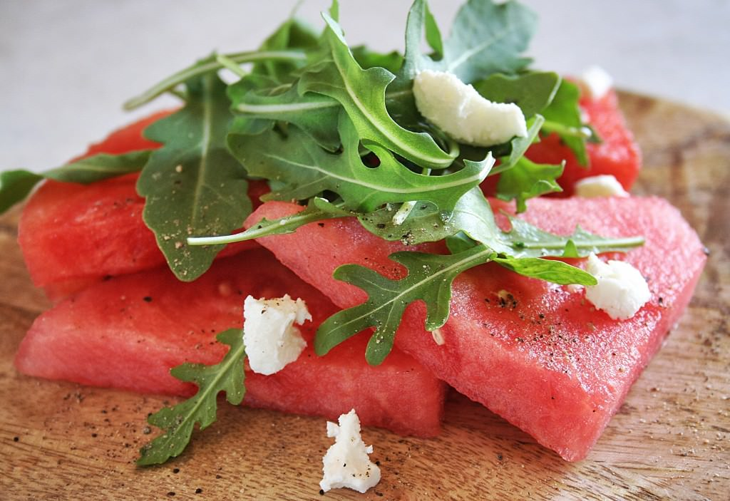 Watermelon Arugula Goat Salad