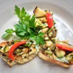Grilled Zucchini Bruschetta with Garden Herb Goat Cheese